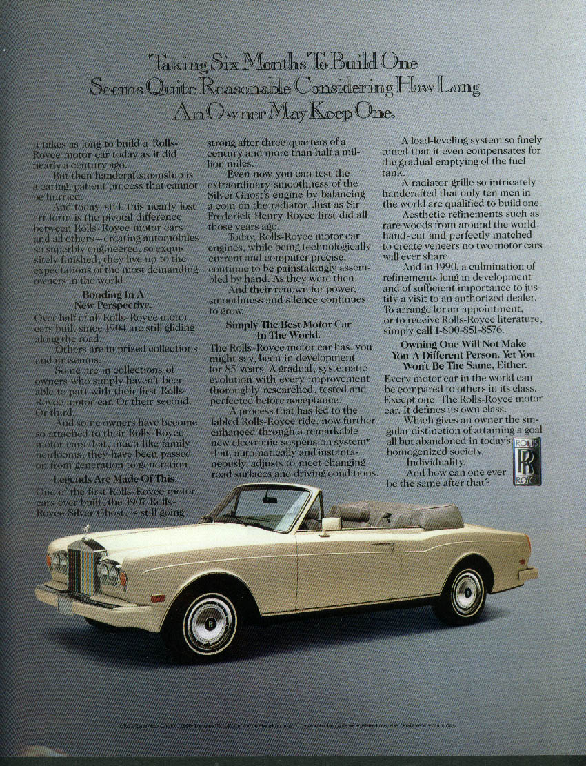 Image for Taking six months to build one Rolls-Royce Convertible ad 1990