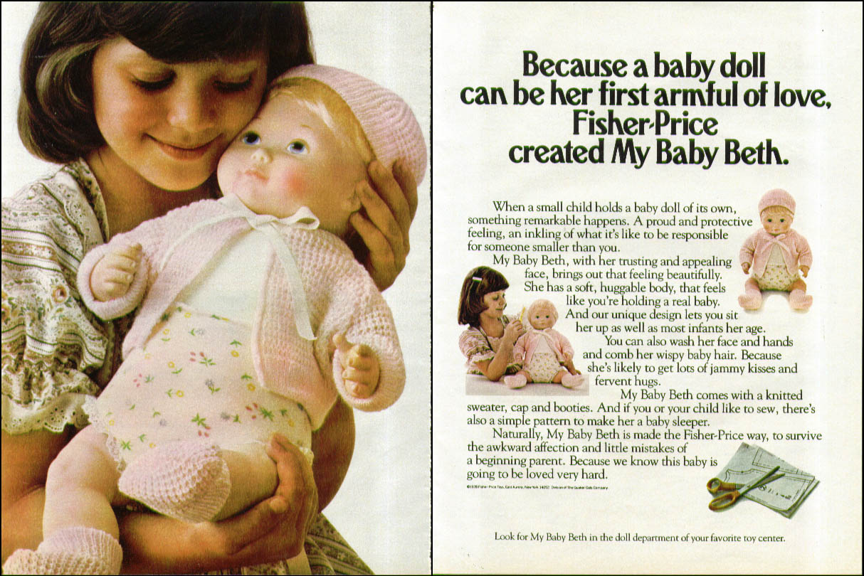 Because My Baby Beth can be her first armful of love Fisher-Price ad 1978