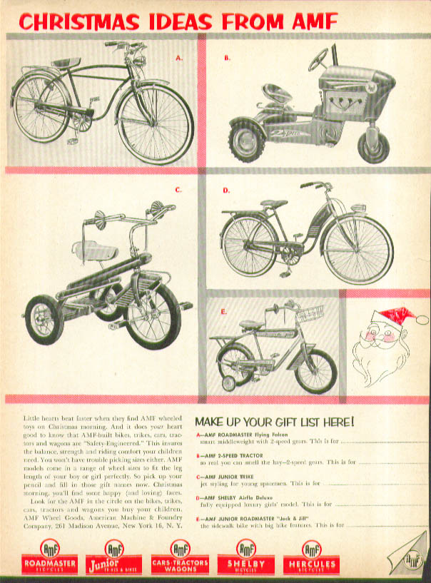 Christmas Ideas from AMF ad 1956 Shelby Airflo bicycle pedal tractor Roadmaster