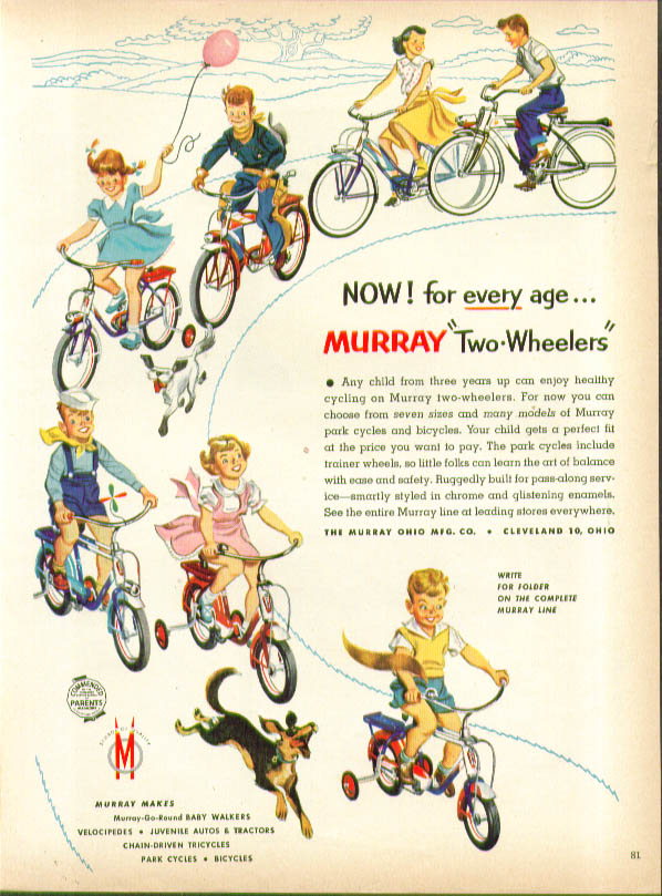 Now for every age Murray Two-Wheelers bicycle ad 1953