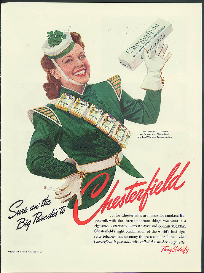Patsy Garrett & Fred Waring's Pennsylvanians for Chesterfield Cgarettes ad 1941