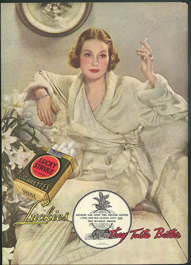 Only center leaves for midlest smoke Lucky Strike Cigarettes ad 1935