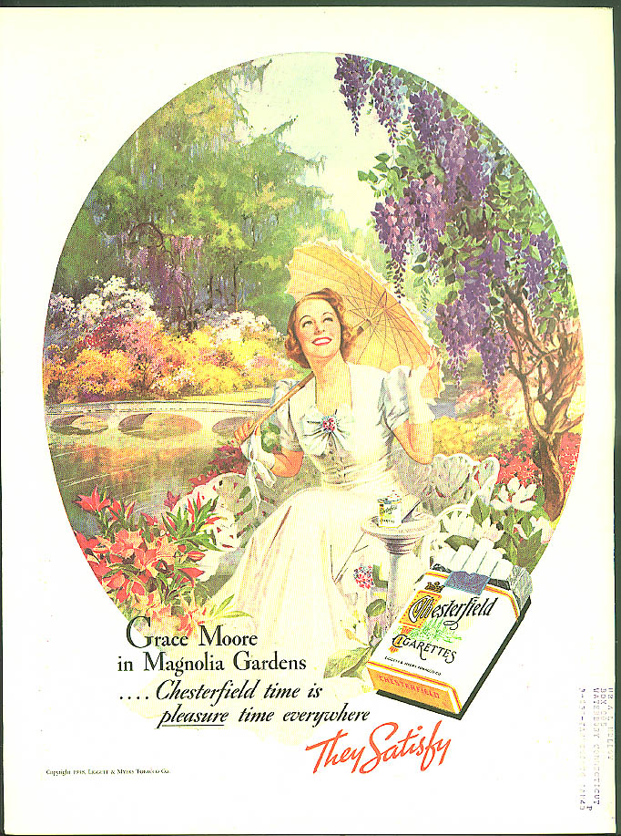 Grace Moore in Magnolia Gardens for Chesterfield Cigarettes ad 1938