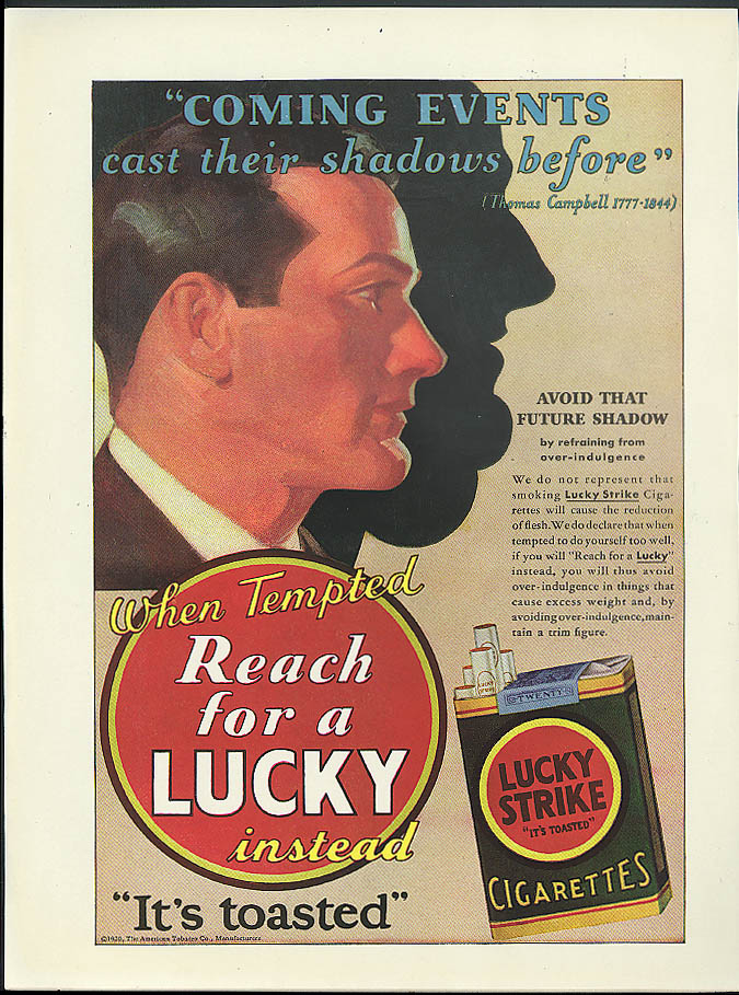 When tempted reach for a Lucky Strike Cigarette ad 1930 tobacco as diet aid!