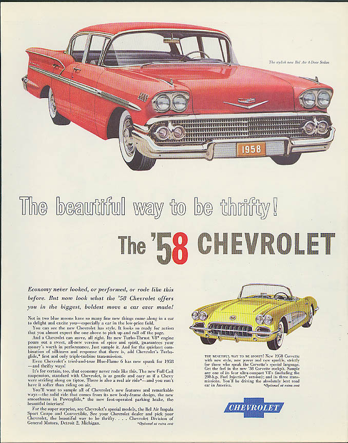 Beautiful way to be thrifty! Chevrolet Bel Air & Corvette ad 1958