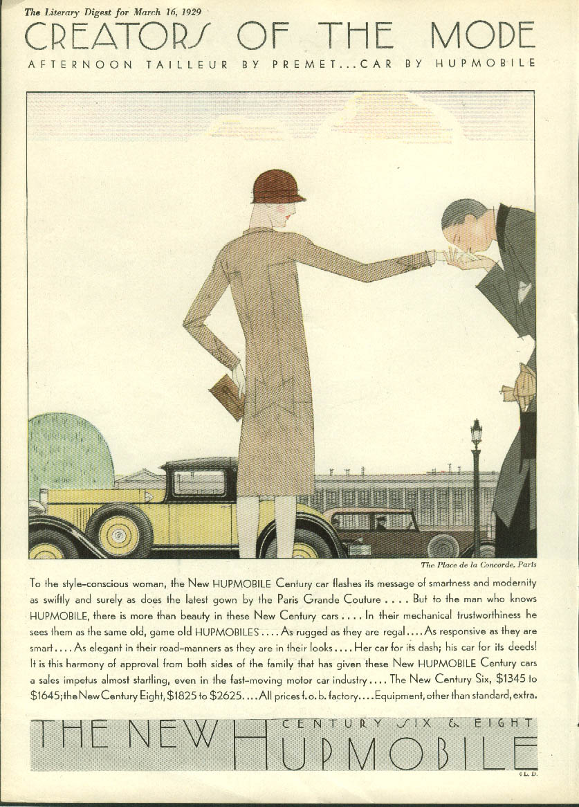 Creators of the Mode Place de la Concorde Paris Hupmobile ad 1929