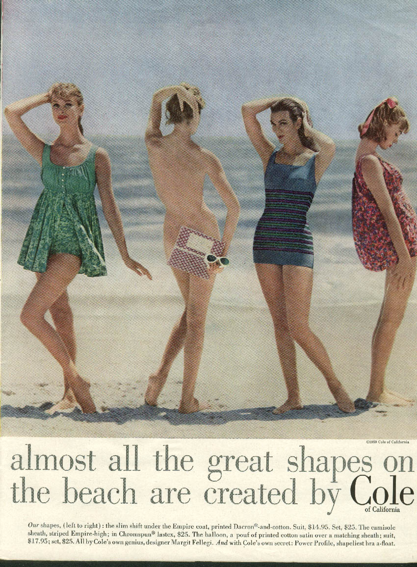 Almost all the great shapes on the beach Cole of California Swimsuits ad 1959