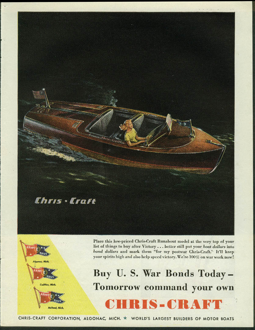 Chris-Craft Runabout ad 1944 Buy War Bonds Today