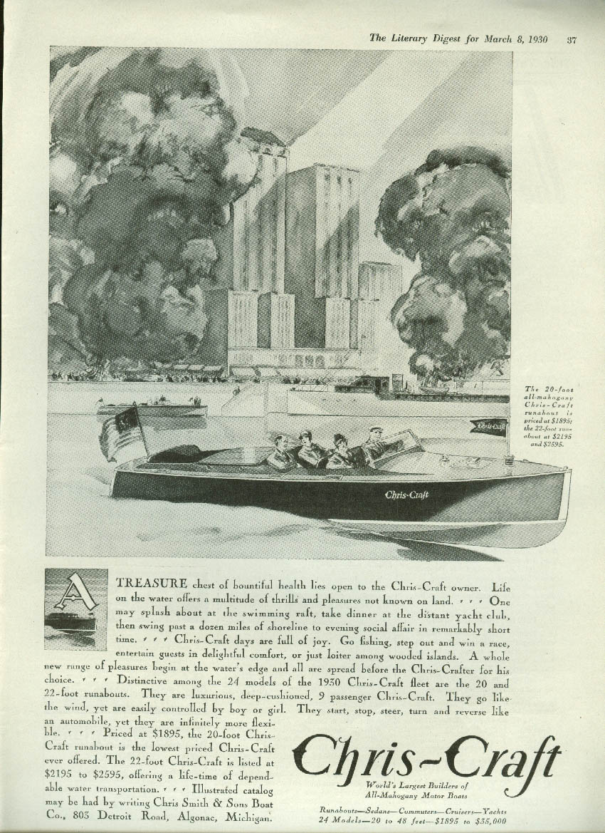 A treasure chest of health lies open Chris-Craft 20-foot Runabout ad 1930