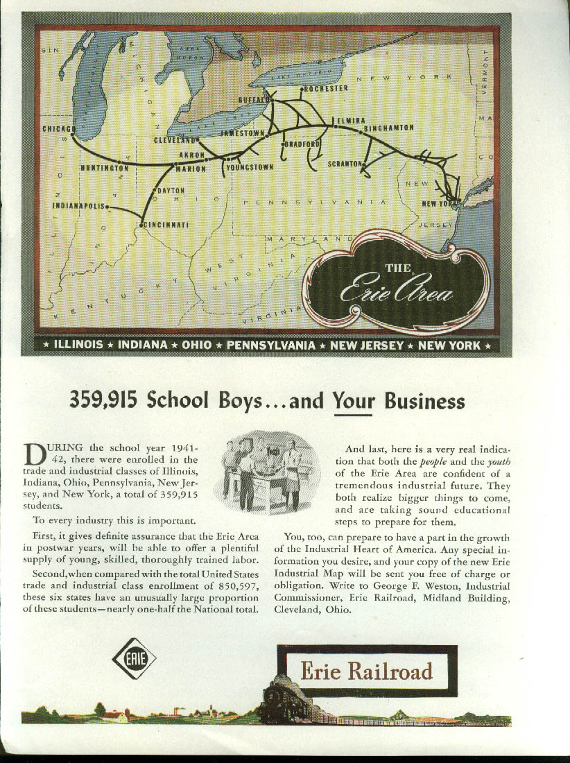 359,915 school boys & YOUR business Erie Railroad ad 1944