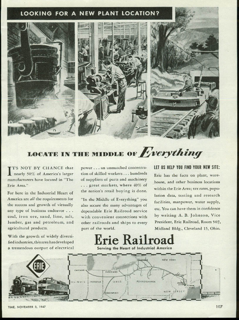 Locate in the middle of everything Erie Railroad ad 1947