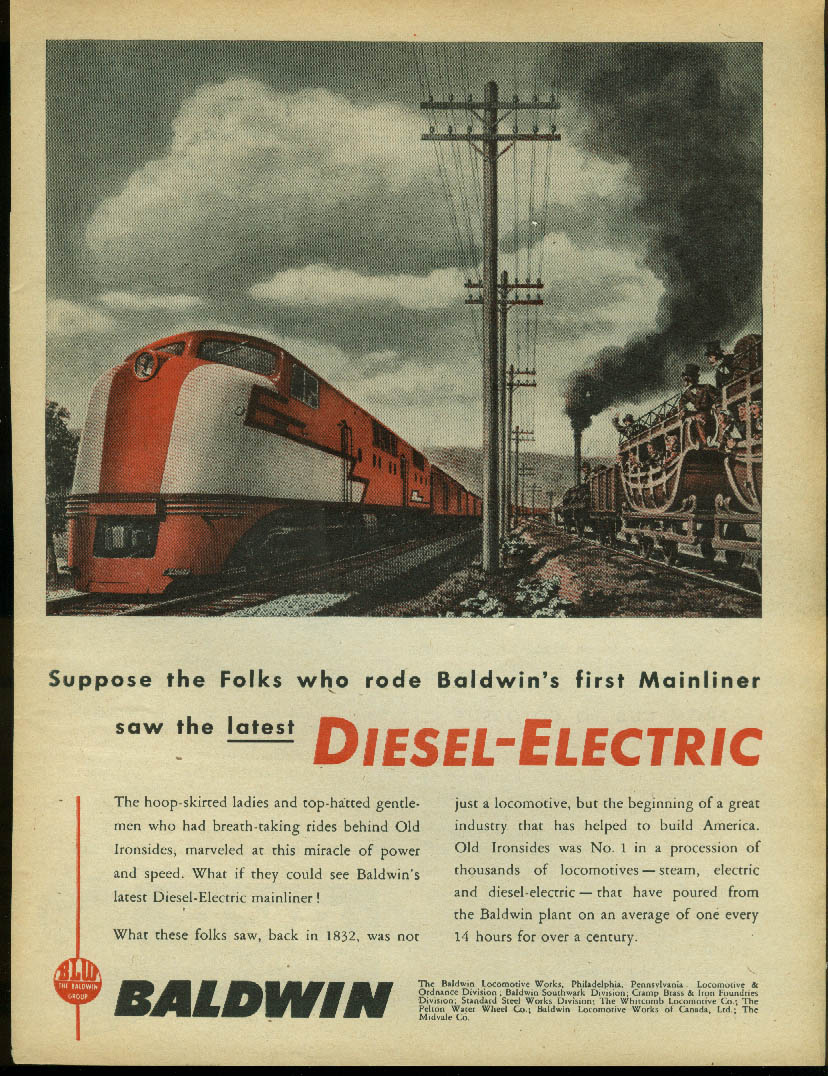 Image for Suppose the Folks saw the latest Baldwin Diesel-Electric Loco ad 1945