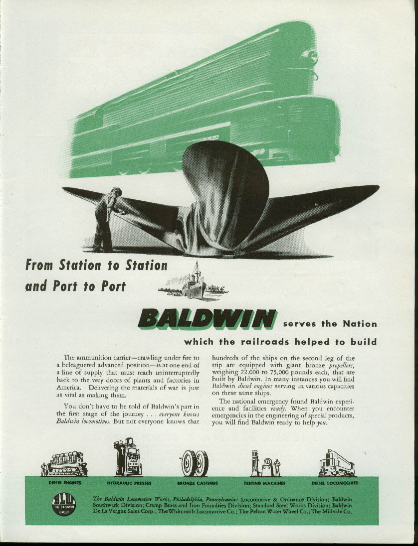 Image for From station to station & port to port Baldwin Locomotives ad 1944