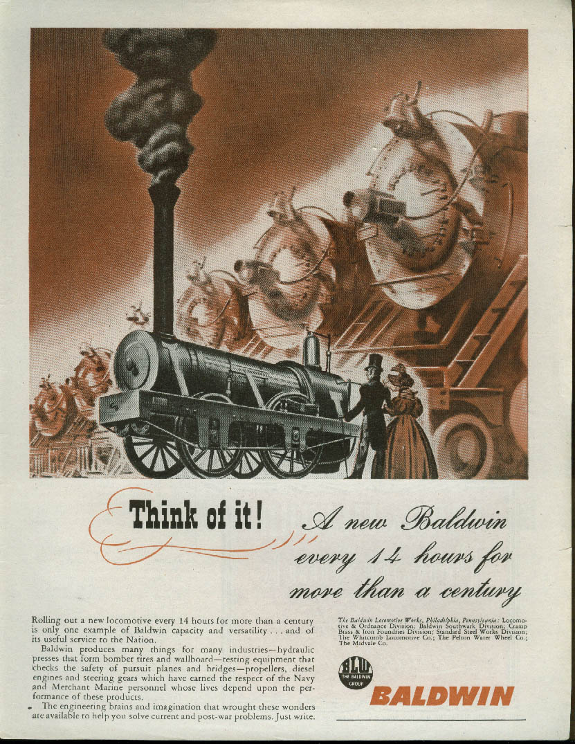 A new Baldwin locomotive every 14 hours for more than a century ad 1945
