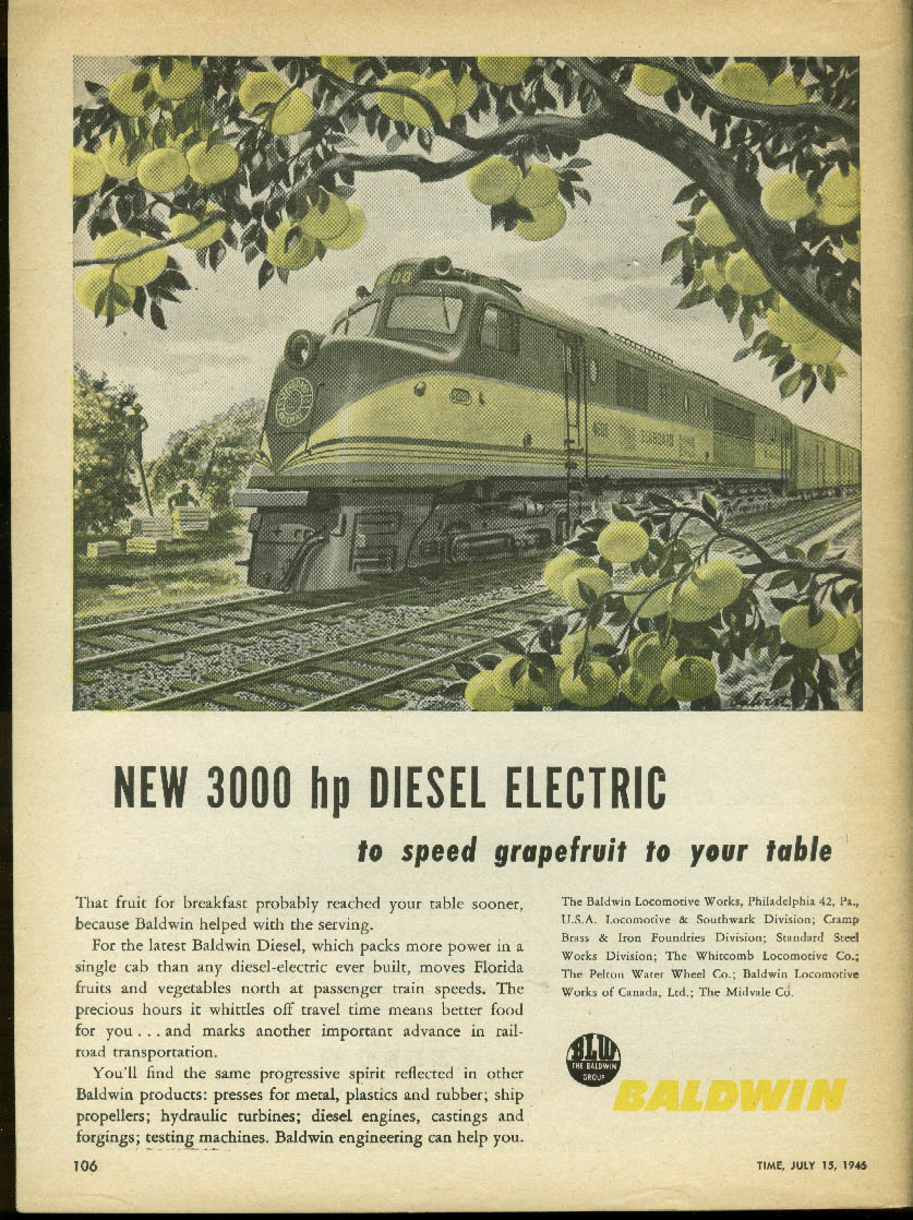 Image for New 3000hp Baldwin Diesel Electric to speed grapefruit to you ad 1946