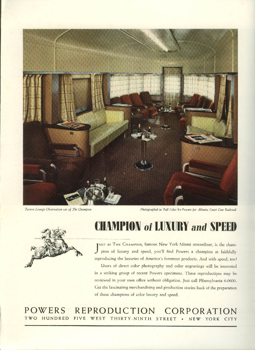 Image for The Champion Lounge Car Atlantic Coast Line RR Powers Reproduction ad 1940