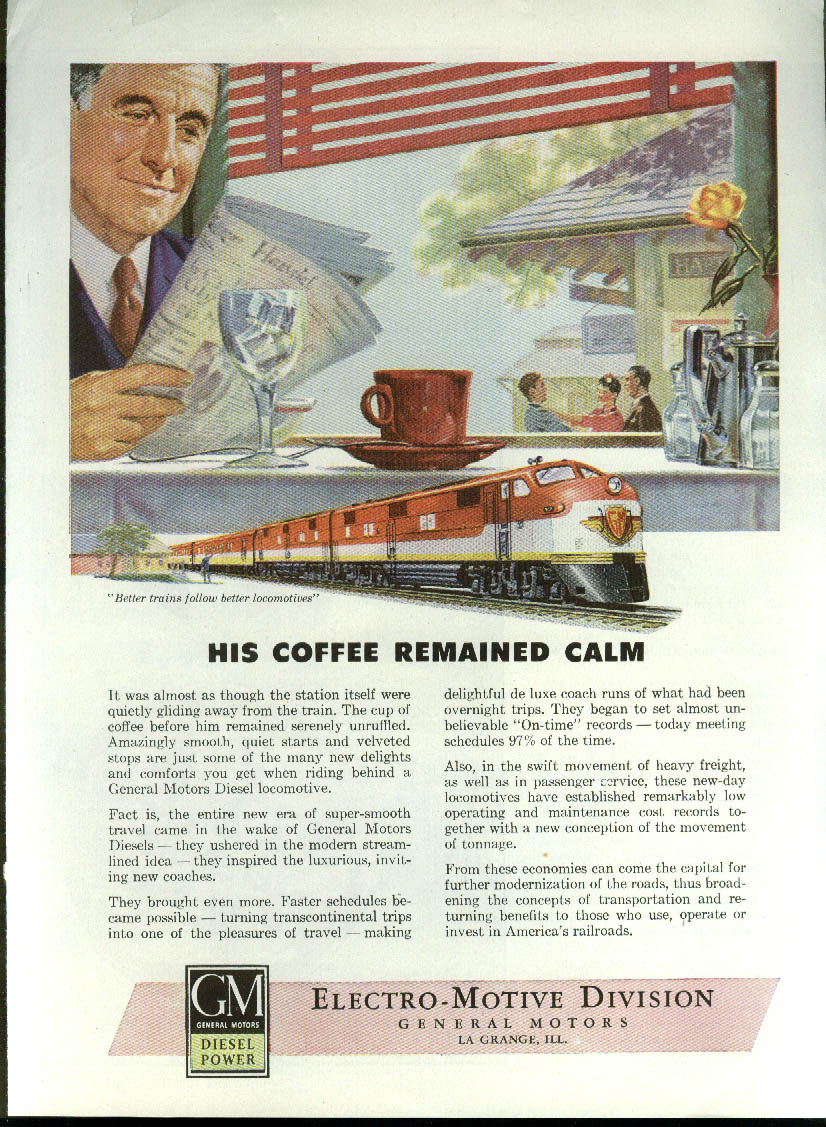 His coffee remained calm GM Electro-Motive Diesel Locomotive ad  1946`