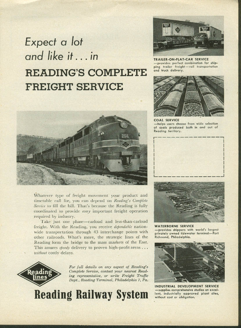 Image for Expect a lot and like it Reading Railway Complete Freight Service ad 1957