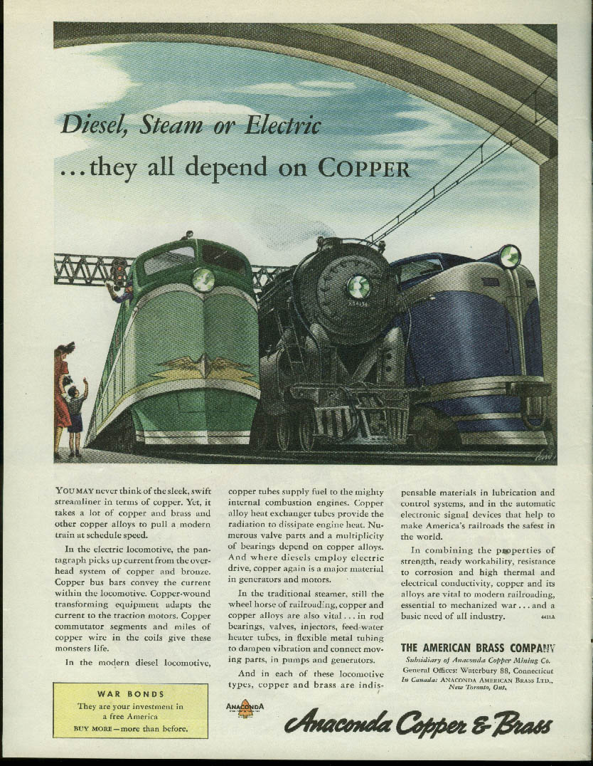 Image for Diesel Steam or Electric They all depend on Anaconda Copper ad 1944