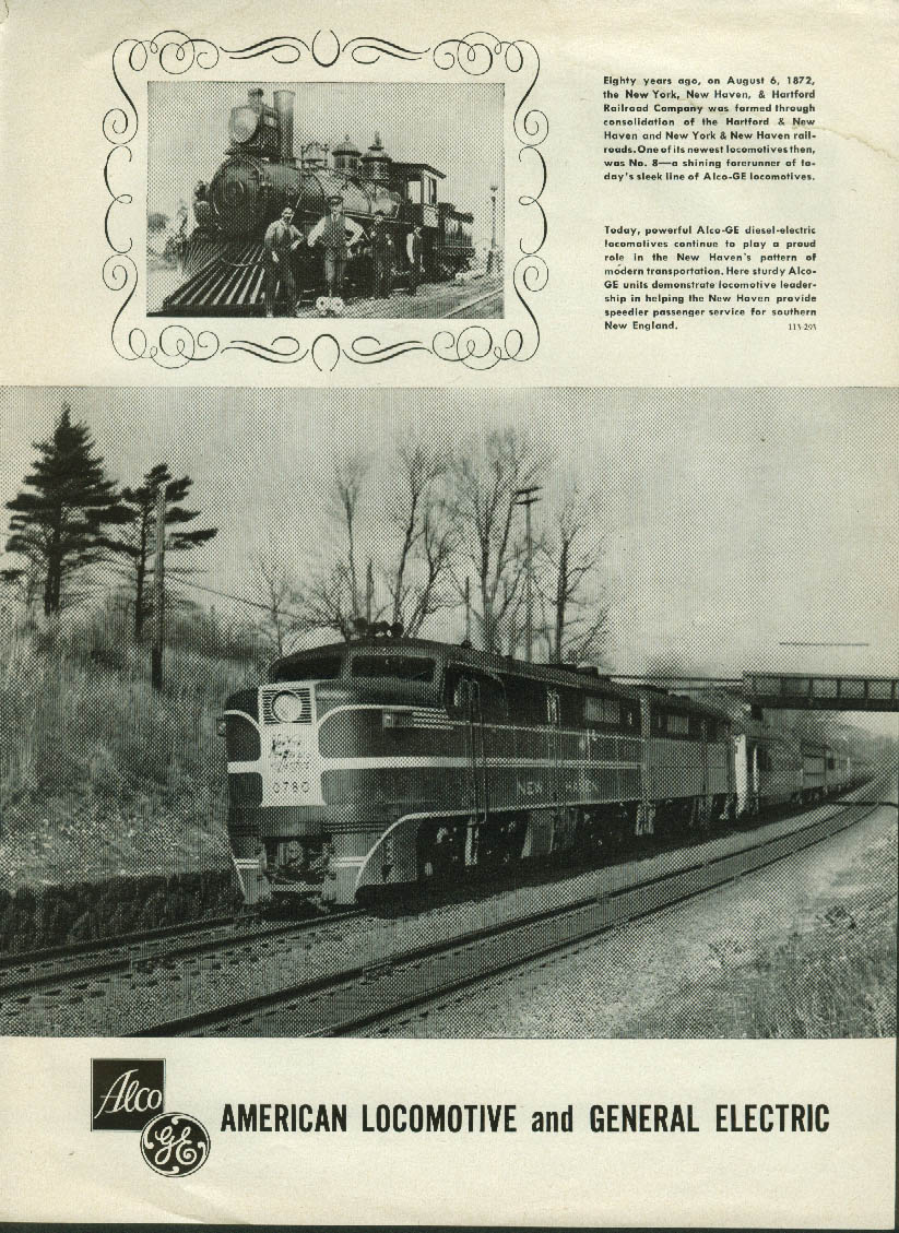 Image for New York New Haven & Hartford Alco-GE diesel locomotive ad 1953