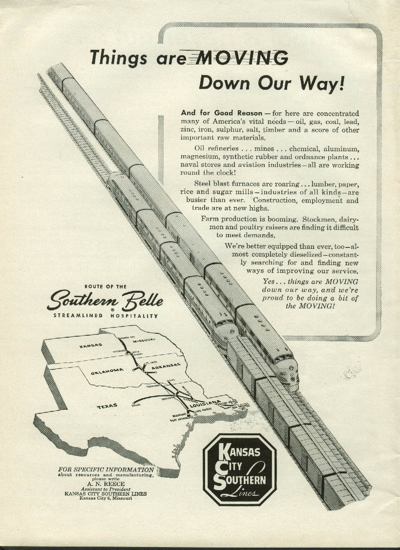 Image for Things are Moving down Our Way Kansas City Southern Southern Belle Route ad 1952