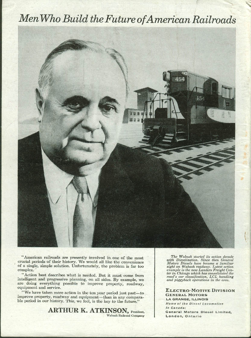 Image for Wabash Railroad Pres. Arthur K Atkinson GM Electro-Motive Diesels ad 1958