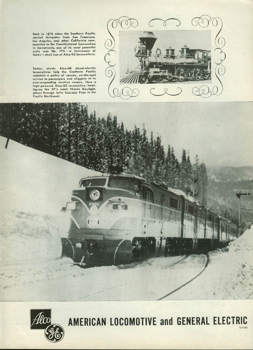 Image for Southern Pacific Railroad Alco-GE diesel-electric locomotives ad 1953