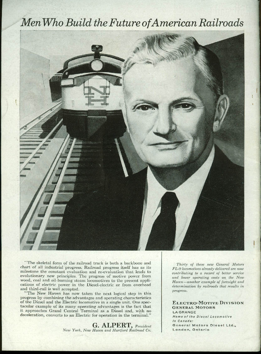 Image for Chicago & North Western RR C J Fitzpatrick GM Electro-Motive Locos ad 1958
