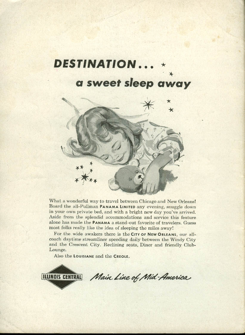 Image for Destination a sweet sleep away Illinois Central Panama Limited ad 1957