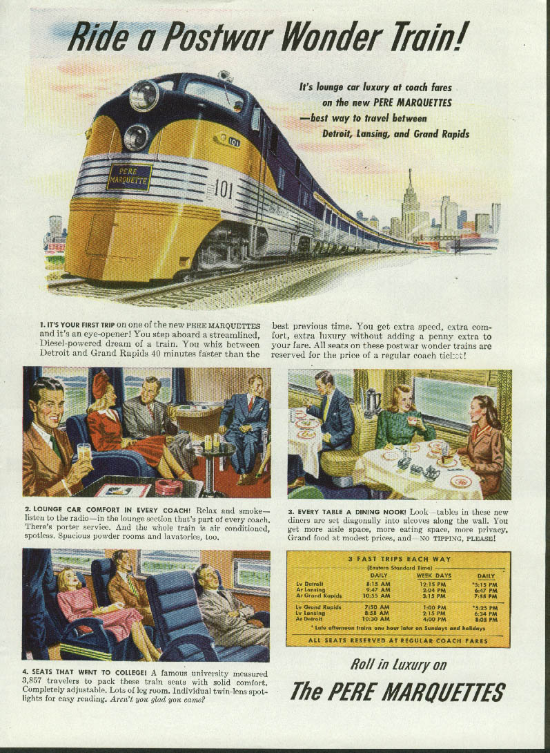 Image for Ride a Postwar Wonder Train! The New Pere Marquettes ad 1946