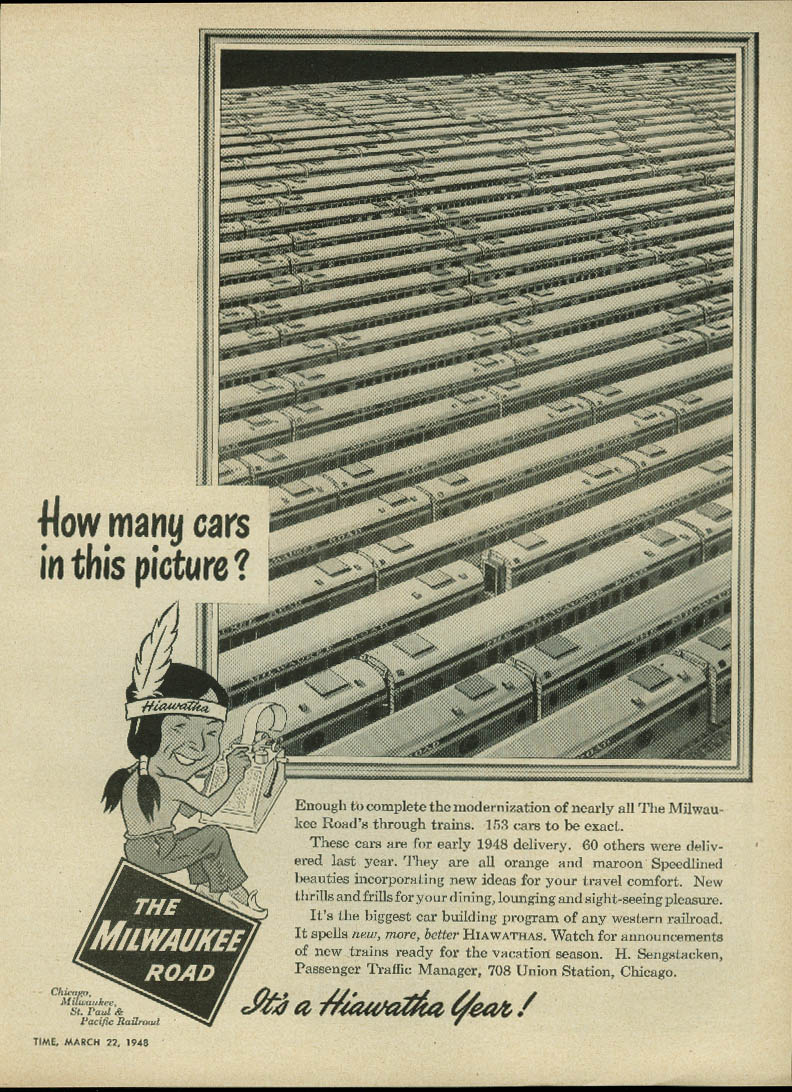 How many cars in this picture? Chicago Milwaukee St Paul & Pacific Road ad 1948
