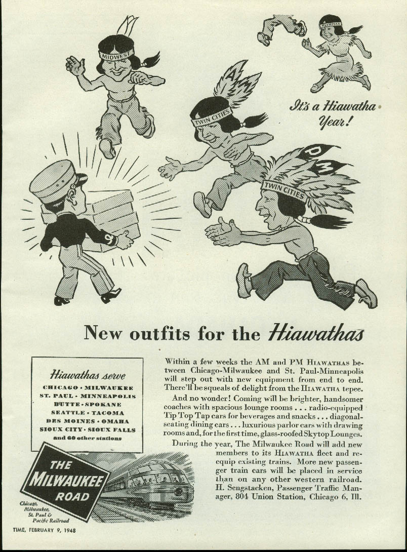 New outfits for the Hiawathas Chicago Milwaukee St Paul & Pacific Road ad 1948
