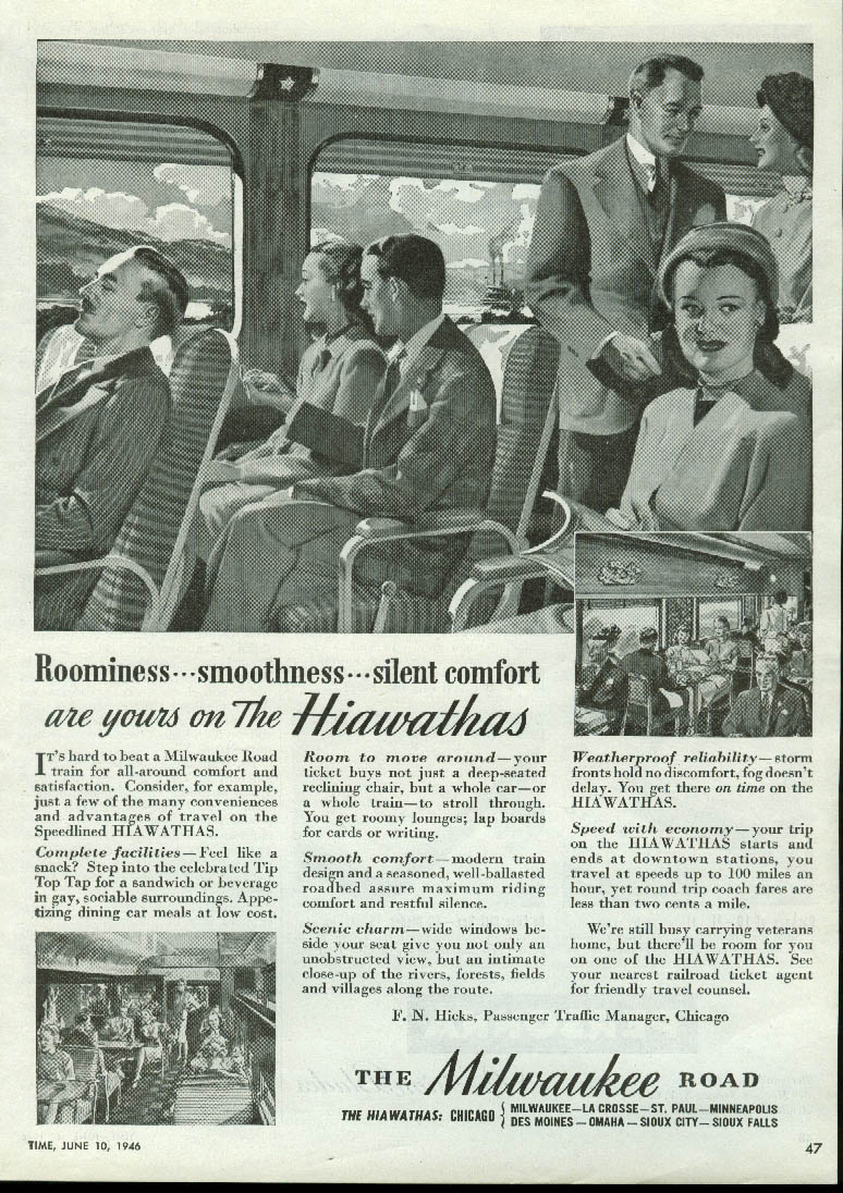 Image for Roominess smoothness Chicago Milwaukee St Paul & Pacific Road Hiawatha ad 1946