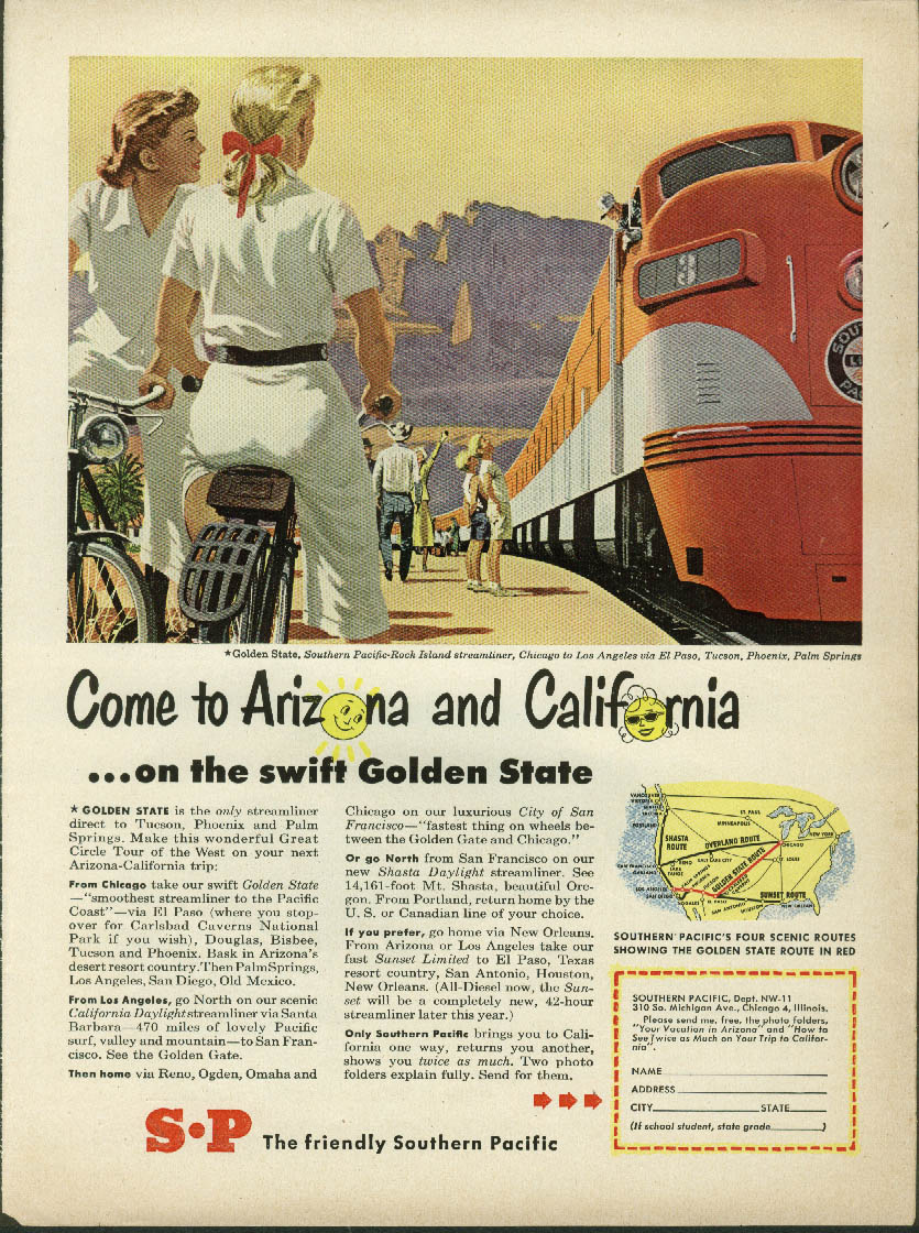 Come to Arizona & California Southern Pacific Golden State Streamliner ad 1950