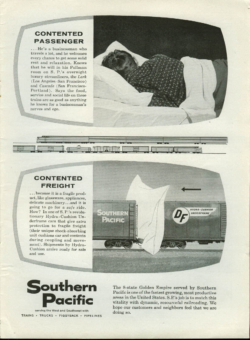 Contented passenger - Contented freight Southern Pacific Railroad ad 1958