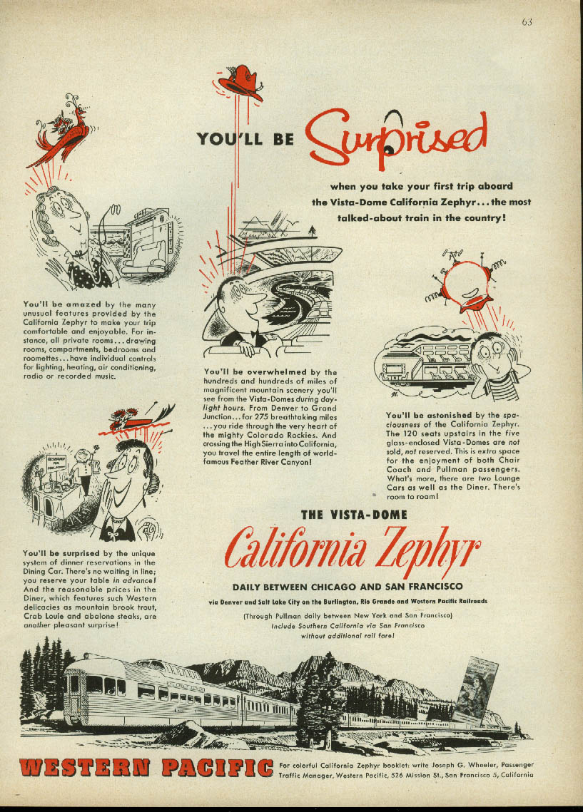 Image for You'll be surprised! Western Pacific California Zephyr Vista-Dome ad 1954