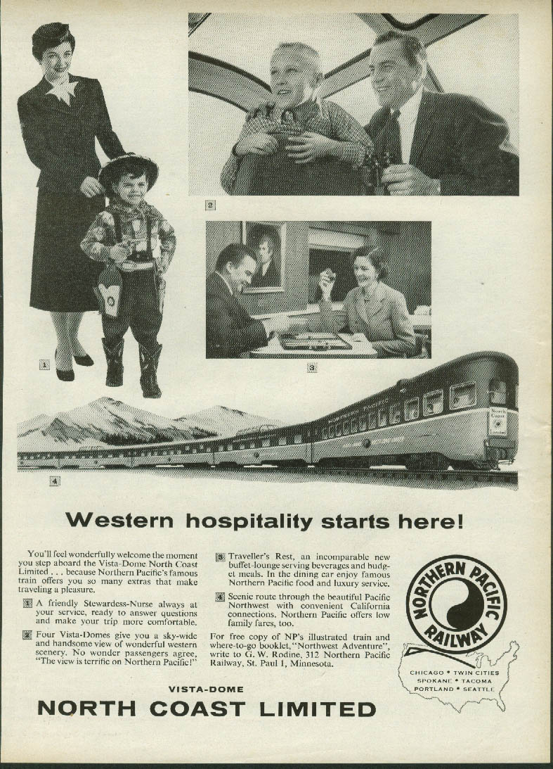 Image for Western hospitality starts here Northern Pacific North Coast Limited ad 1957