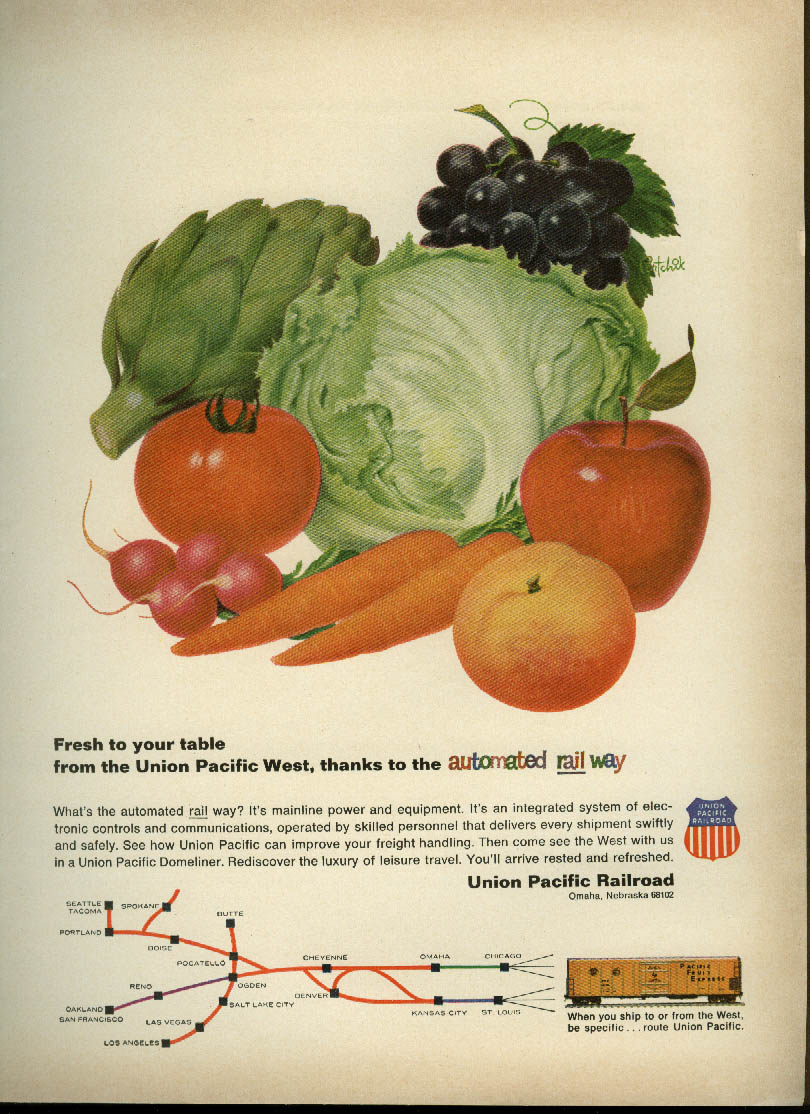 Image for Union Pacific RR Automatied Rail Way fresh to your table ad 1963