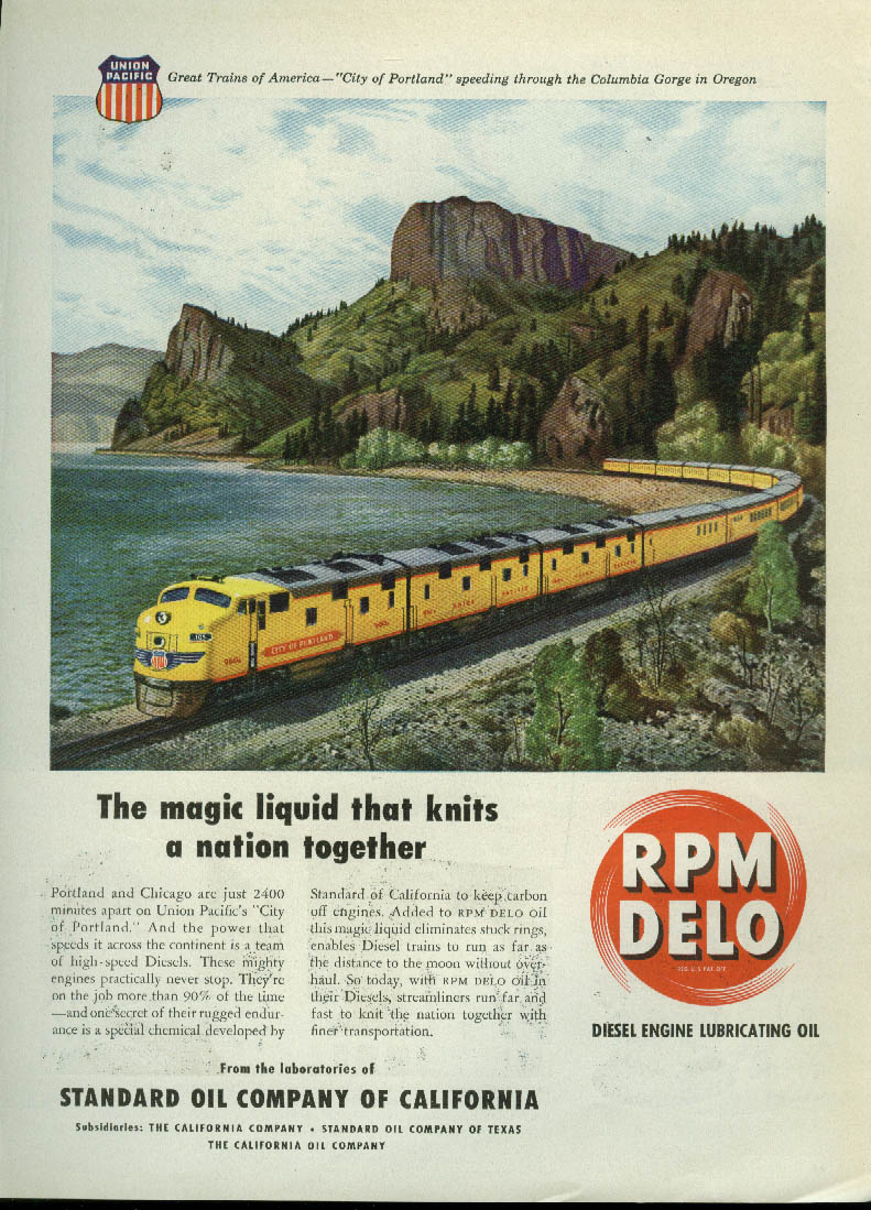 Magic liquid knits a nation Union Pacific City of Portland RPM Delo ad 1948