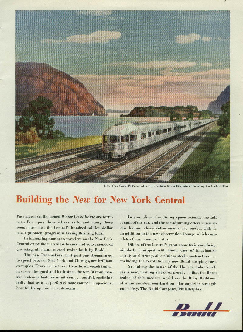 Building the NEW for New York Central Pacemaker Budd cars ad 1948