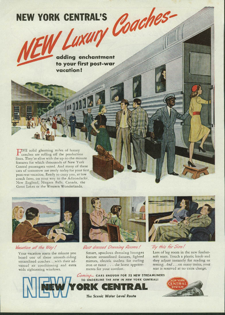 New Luxury Coaches for post-war vacation New York Central RR ad 1946