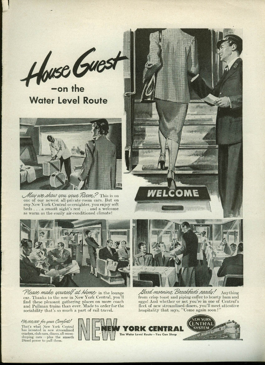 House Guest on the Water Level Route New York Central RR ad 1949