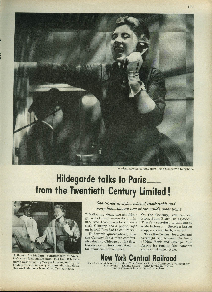 Hildegarde talks to Paris from the 20th Century Limited New York Central ad 1955