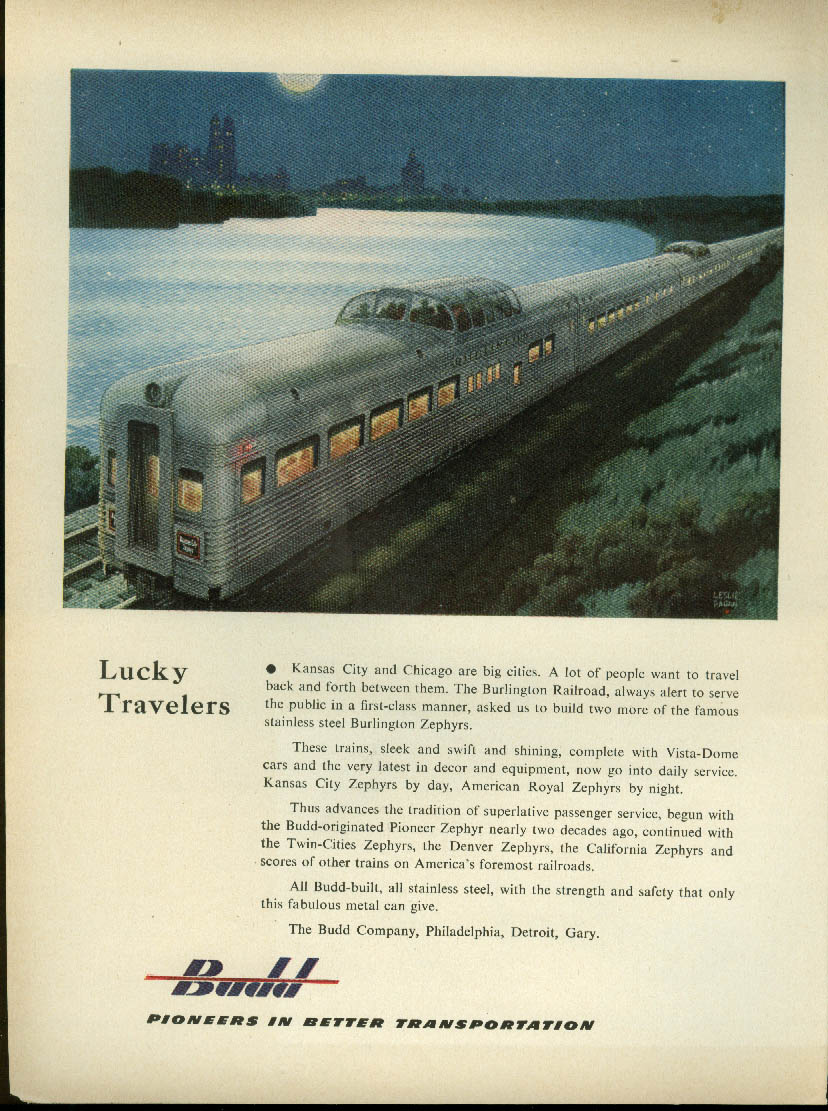 Lucky Travelers Burlington Zephyrs Vista-Dome Budd cars ad 1953