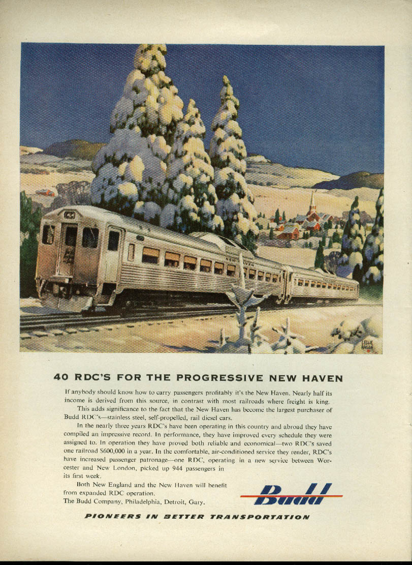 40 RDCs for the Progressive New Haven Railroad Budd cars ad 1952