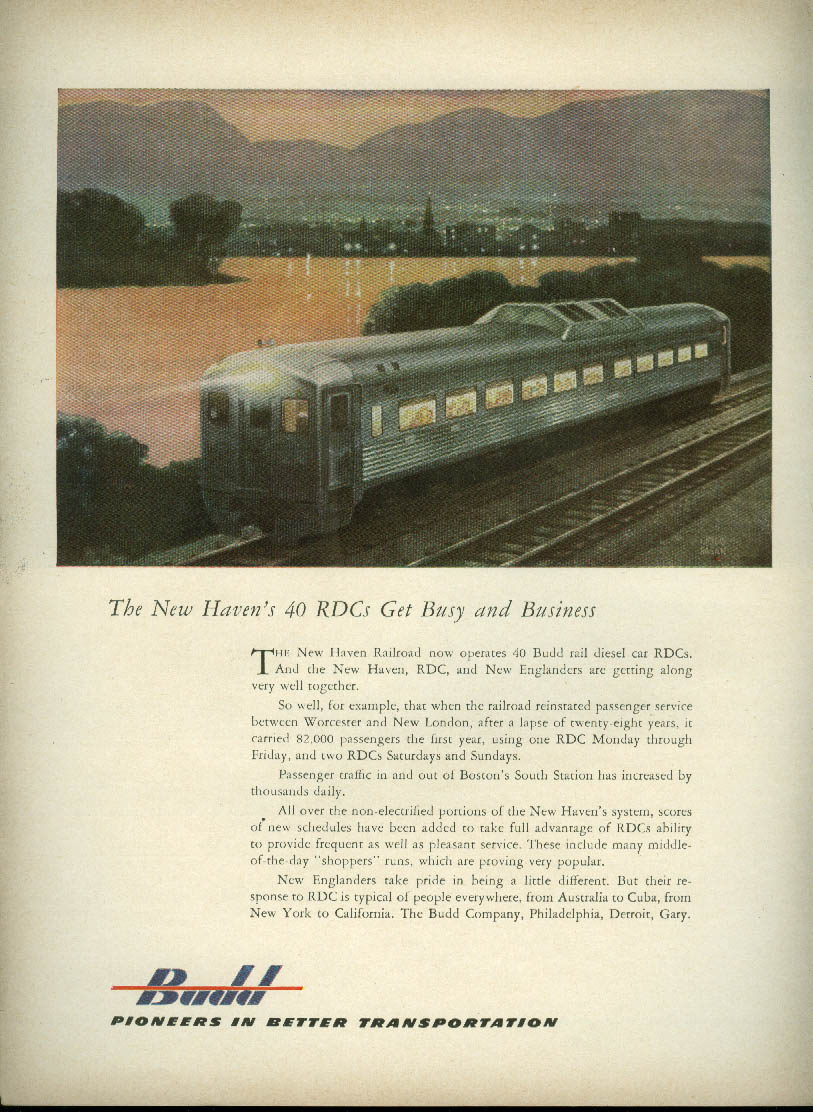 The New Haven Railroad's 40 RDCs Get Busy & Business Budd Car ad 1953