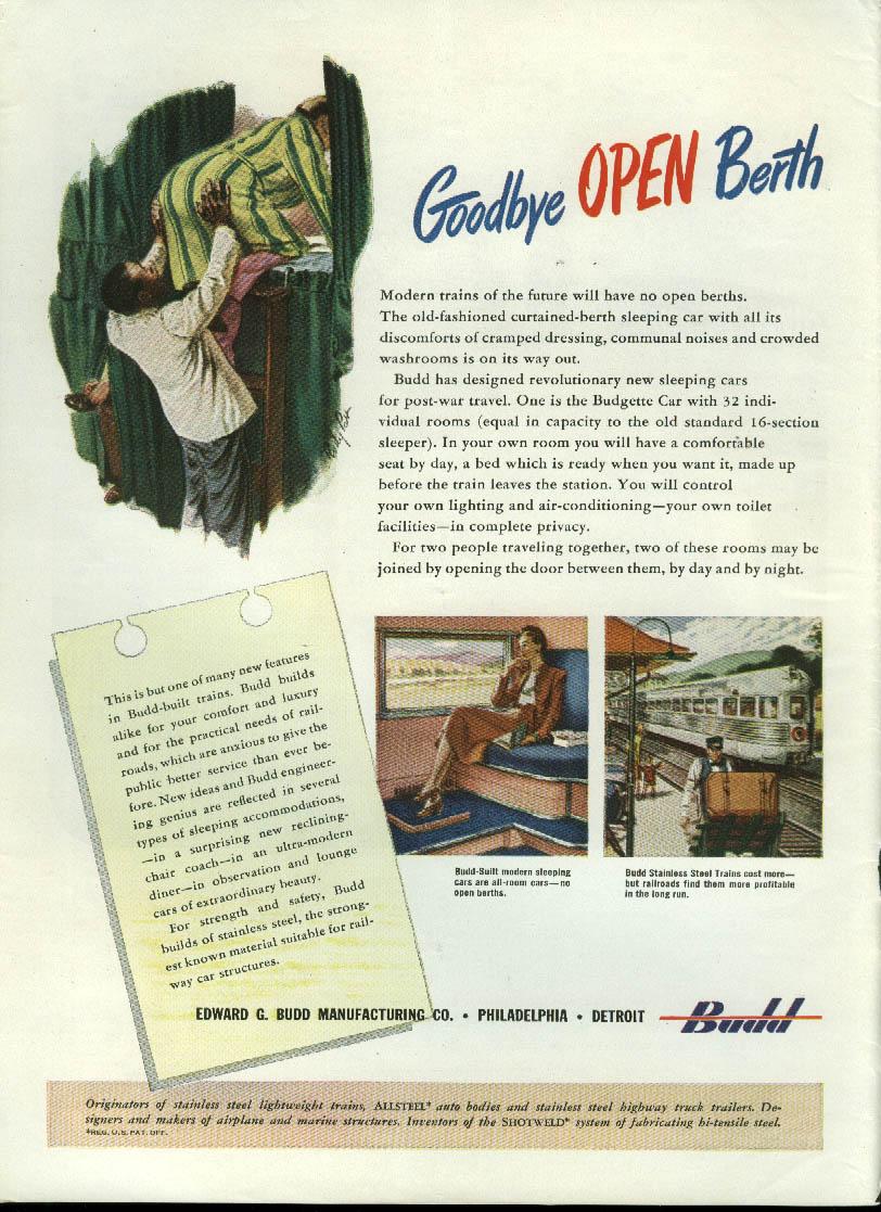 Goodbye Open Berth modern sleeping cars by Budd ad 1945