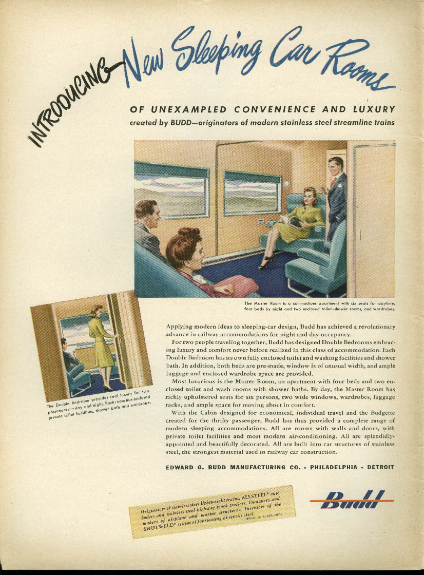 Introducing New Sleeping Car Rooms for streamlined trains Budd Cars ad 1945