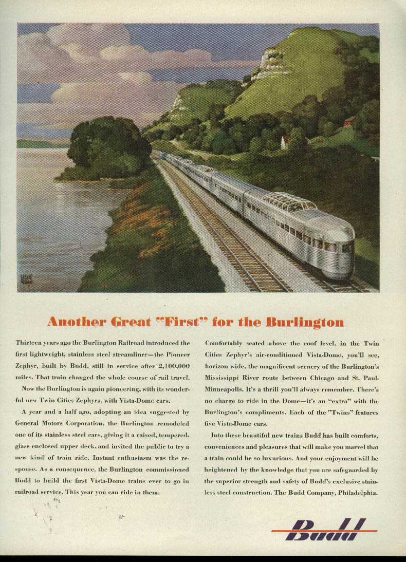 "Another Great ""First"" for Burlington Vista-Dome Twin Cities Zephyr Budd ad 1947"