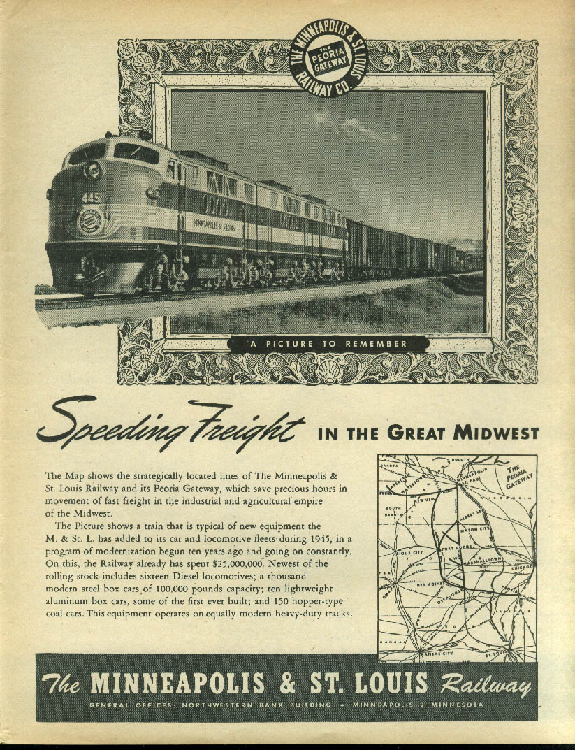 Image for Speeding freight in the Great Midwest Minneapolis & St Louis Railway ad 1946